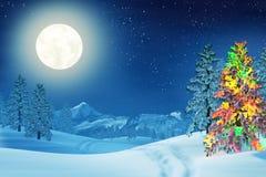 在被月光照亮冬天风景的圣诞树在晚上 免版税库存图片