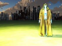 在被毁坏的城市前的机器人修士 库存例证