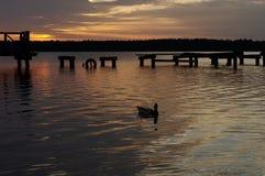 在被毁坏的码头, Masuria,波兰的日落 库存图片