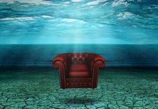 在被淹没的沙漠废墟的被淹没的椅子 库存图片