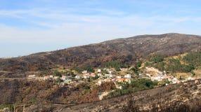 在被烧的森林葡萄牙村庄附近 免版税图库摄影
