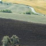 在被犁的领域之间的柏油路 免版税库存照片
