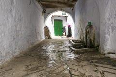 在被粉刷的曲拱, Tetouan,摩洛哥下的喷泉 免版税库存图片