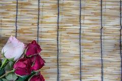 在被编织的木头窗帘安置的玫瑰5 库存图片