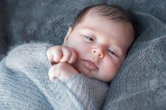 在被编织的温暖的毯子包裹的新出生的婴孩 美丽的特写镜头 免版税库存照片