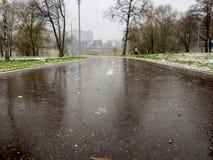 在被解冻的雪以后骑自行车和一个跑马场在公园 库存图片