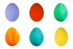 在被隔绝的白色背景的五颜六色的鸡蛋 愉快的复活节手工制造被绘的颜色蛋宏指令,集合 免版税库存图片