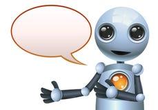 在被隔绝的白色背景的小的机器人泡影谈话 库存例证