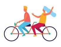 在被隔绝的纵排或双自行车的夫妇骑马 向量例证