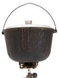 在被隔绝的煤气喷燃器的野营的煤烟灰罐 免版税图库摄影