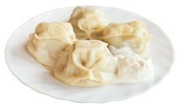 在被隔绝的白色板材的Manti饺子 库存图片