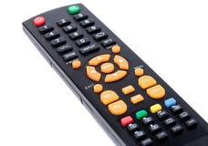 在被隔绝的白色的电视遥控键盘黑色 免版税库存照片