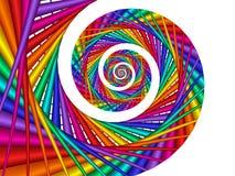在被隔绝的白色的荧光的彩虹螺旋 免版税库存照片