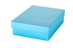 在被隔绝的白色的蓝色礼物盒 免版税库存图片