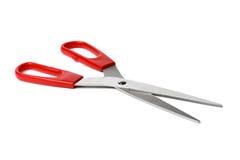 在被隔绝的白色背景关闭的红色剪刀  免版税库存照片