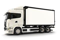 在被隔绝的白色背景的普通白色工业运输卡车 文本或复制空间的空间 3d翻译 免版税库存照片