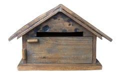 在被隔绝的白色背景的木邮箱 库存照片