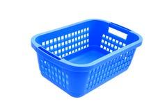 在被隔绝的白色背景的蓝色塑料盒 免版税库存照片
