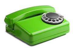 在被隔绝的白色背景的输送路线绿色电话 免版税图库摄影