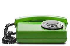 在被隔绝的白色背景的输送路线绿色电话 免版税库存照片