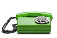 在被隔绝的白色背景的输送路线绿色电话 库存图片