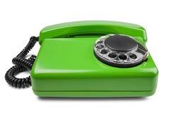 在被隔绝的白色背景的输送路线绿色电话 免版税库存图片