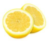 在被隔绝的白色背景的水多的黄色柠檬 免版税库存照片