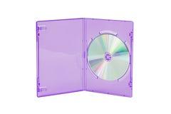 在被隔绝的白色背景的紫罗兰色CD/DVD盒 库存照片