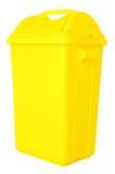 在被隔绝的白色背景的黄色垃圾 免版税库存照片