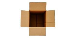 在被隔绝的背景的被打开的空白的箱子 免版税库存图片