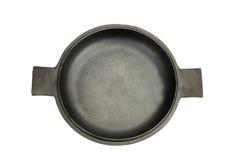 在被隔绝的被打开的生铁平底锅的大角度看法 库存图片