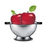 在被隔绝的钢滤水器的两个苹果 库存照片