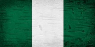 在被风化的木头的一面土气老尼日利亚旗子 免版税图库摄影