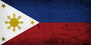 在被风化的木头的一面土气老菲律宾旗子 向量例证