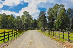 在被围住的绿色草坪之间的石渣路 免版税库存照片