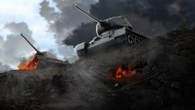 在被破坏的区域边缘的两辆坦克 库存照片