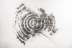 在被洒的灰的螺旋形状螺旋图画 免版税图库摄影
