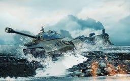 在被攻击的灼烧的机车的背景的苏联坦克 免版税图库摄影