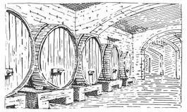 在被刻记的地窖葡萄酒老看的传染媒介例证,手拉的scratchboard样式的葡萄酒桶 免版税库存图片