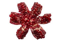 在裁减的红色石榴石与在被隔绝的白色背景的五谷 免版税库存照片