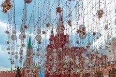 在装饰后的红场在大街 免版税图库摄影