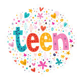 在装饰文本上写字的词青少年的印刷术 免版税库存图片