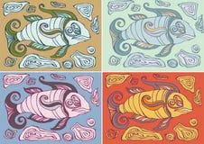 在装饰样式的抽象鱼 免版税库存图片