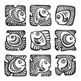在装饰样式的抽象鱼 免版税库存照片