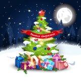 在装饰的杉树的圣诞快乐横幅在夜冬天森林里 免版税库存图片