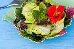 在装饰碗的莴苣和金莲花花和叶子沙拉在蓝色桌上 图库摄影