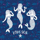 在装饰背景的可爱的美人鱼 免版税库存照片