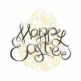 在装饰backg的愉快的复活节手图画字法标题 免版税库存照片