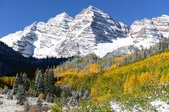 在褐红的响铃的秋天雪 免版税库存照片