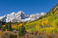 在褐红的响铃的秋天风景 免版税库存图片